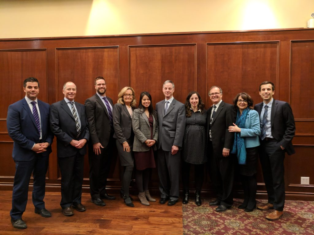 Jonathan Speigel standing with Speigel Nichols Fox LLP partners and associates at the Annual General Meeting of the Peel Law Association