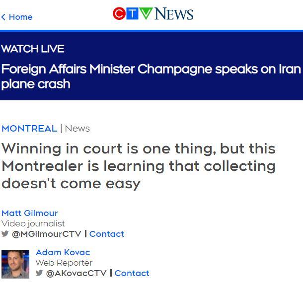 Screenshot of CTV News website with article quoting Allison Speigel.