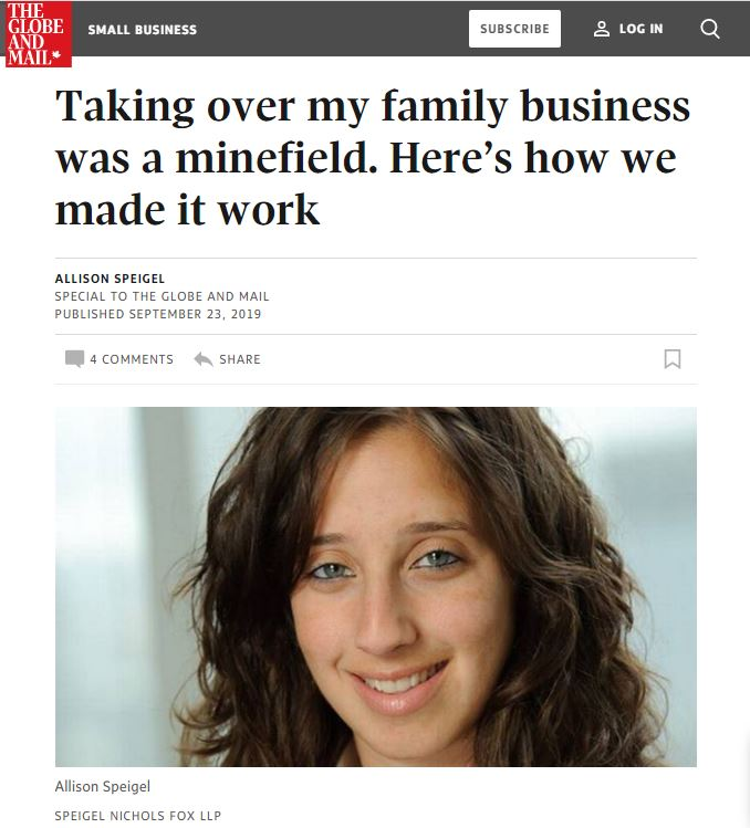 Screenshot of The Globe and Mail website with Allison Speigel's article.