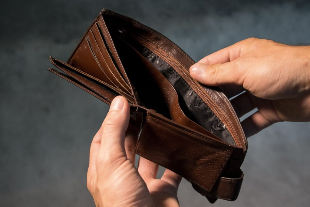 An empty wallet held open.