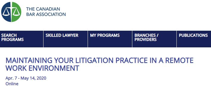 Screenshot from The Canadian Bar Association website.