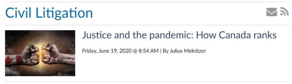 "Screenshot of Lawyer's Daily website with Julius Melnitzer's article, ""Justice and the pandemic: How Canada ranks"""