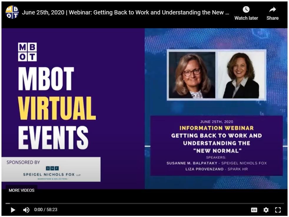 Screenshot from MBOT's webinar: Getting back to Work and Understanding the New Normal