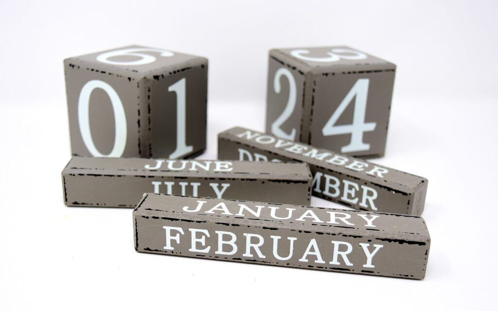 Blocks with the months and days on each side.
