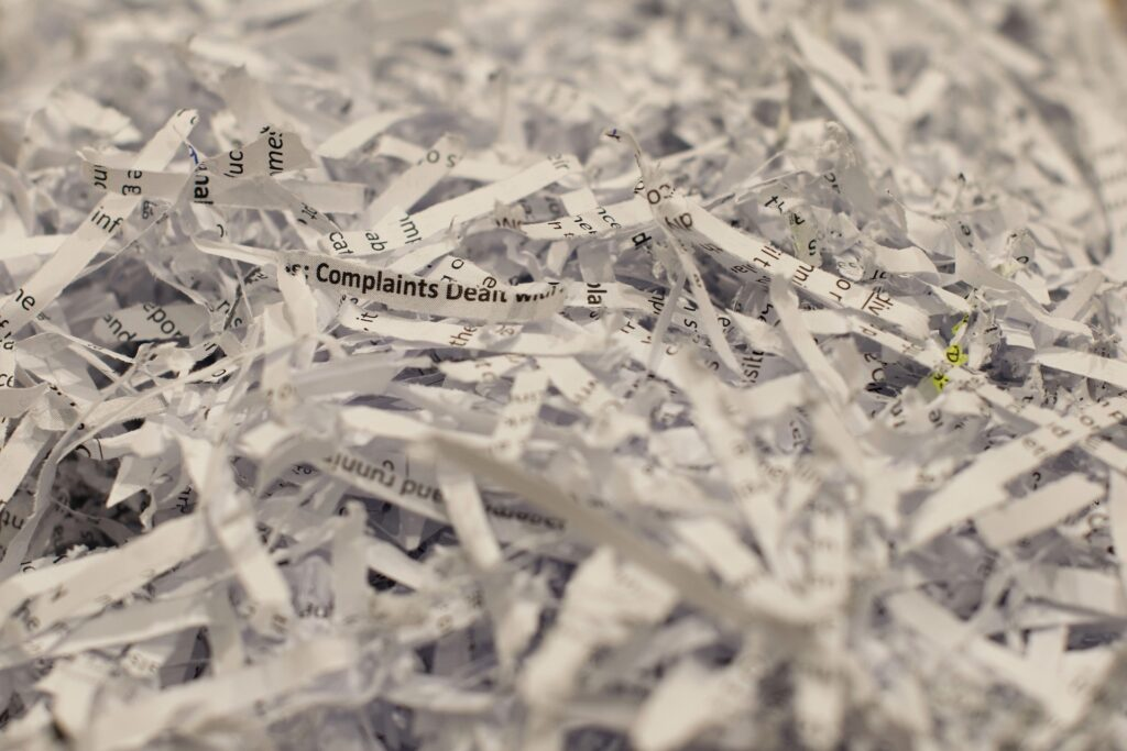 A pile of shredded documents.